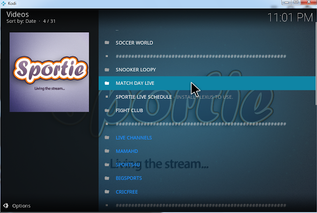 Few Sports channels from sporties kodi addon