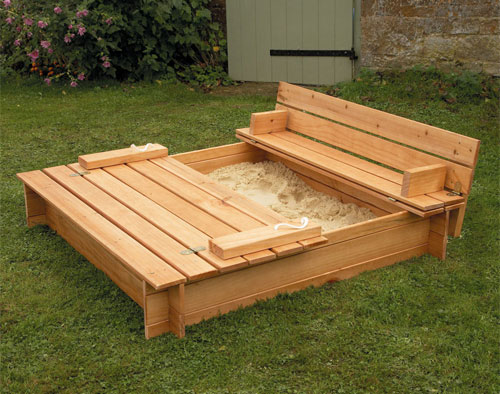Wooden Sandbox With Bench