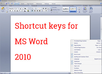 Shortcut keys for MS word 2010