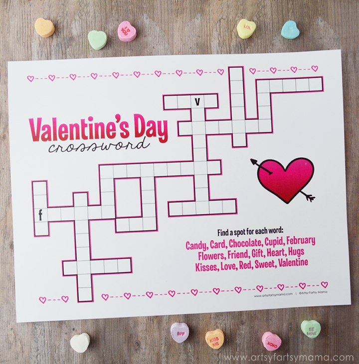 Free Printable Valentine's Day Crossword at artsyfartsymama.com #Valentine