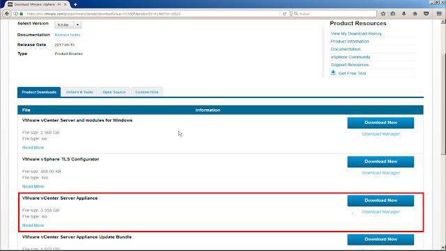 Descargar el la imagen ISO desde la página oficial de vmware.