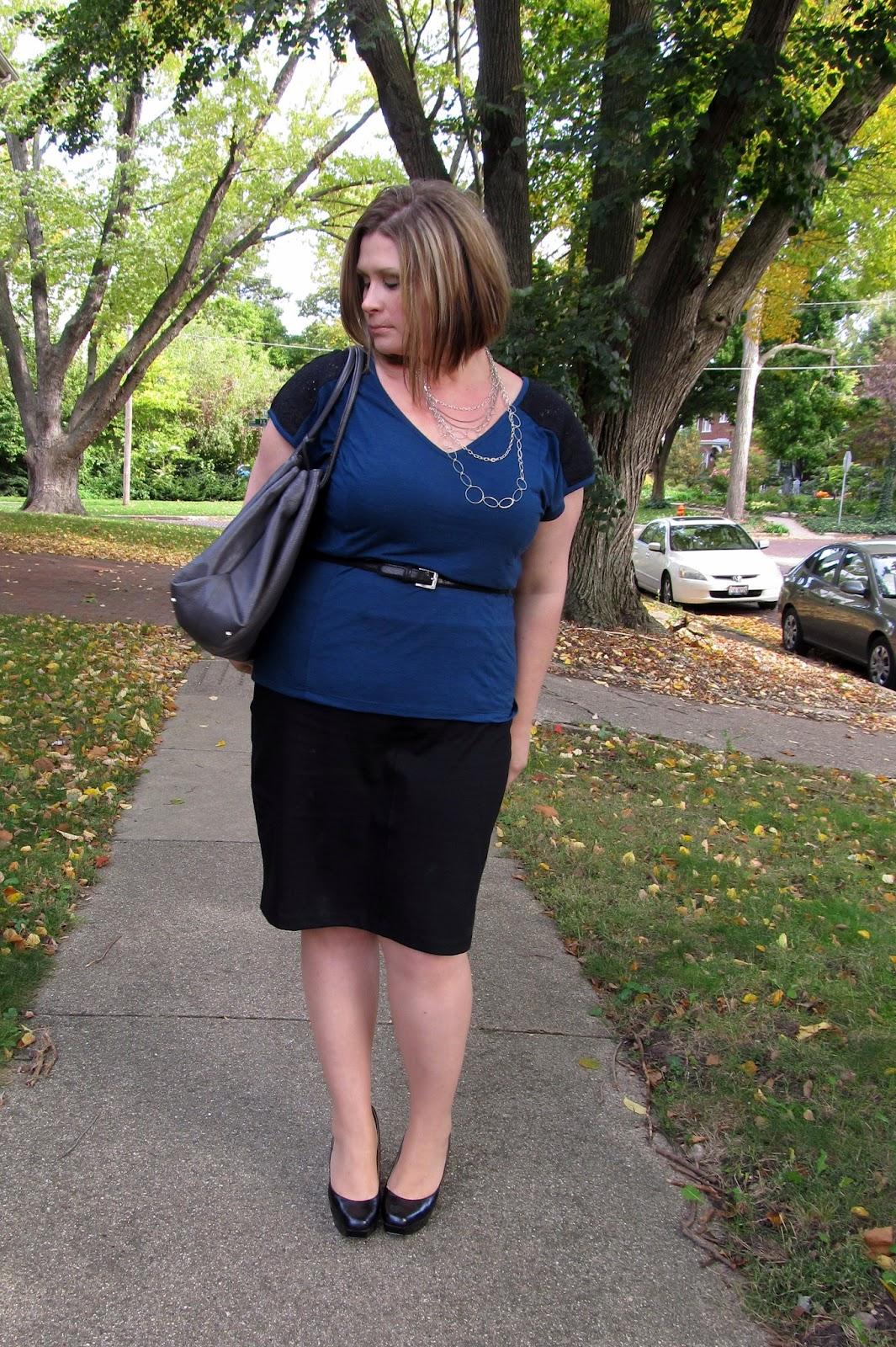 3893c0a8a27 Lace shoulder tee - Lane Bryant   Ponte pencil skirt - Dorothy Perkins    Handbag - Furla (via TJMaxx)   Shoes - Nine West
