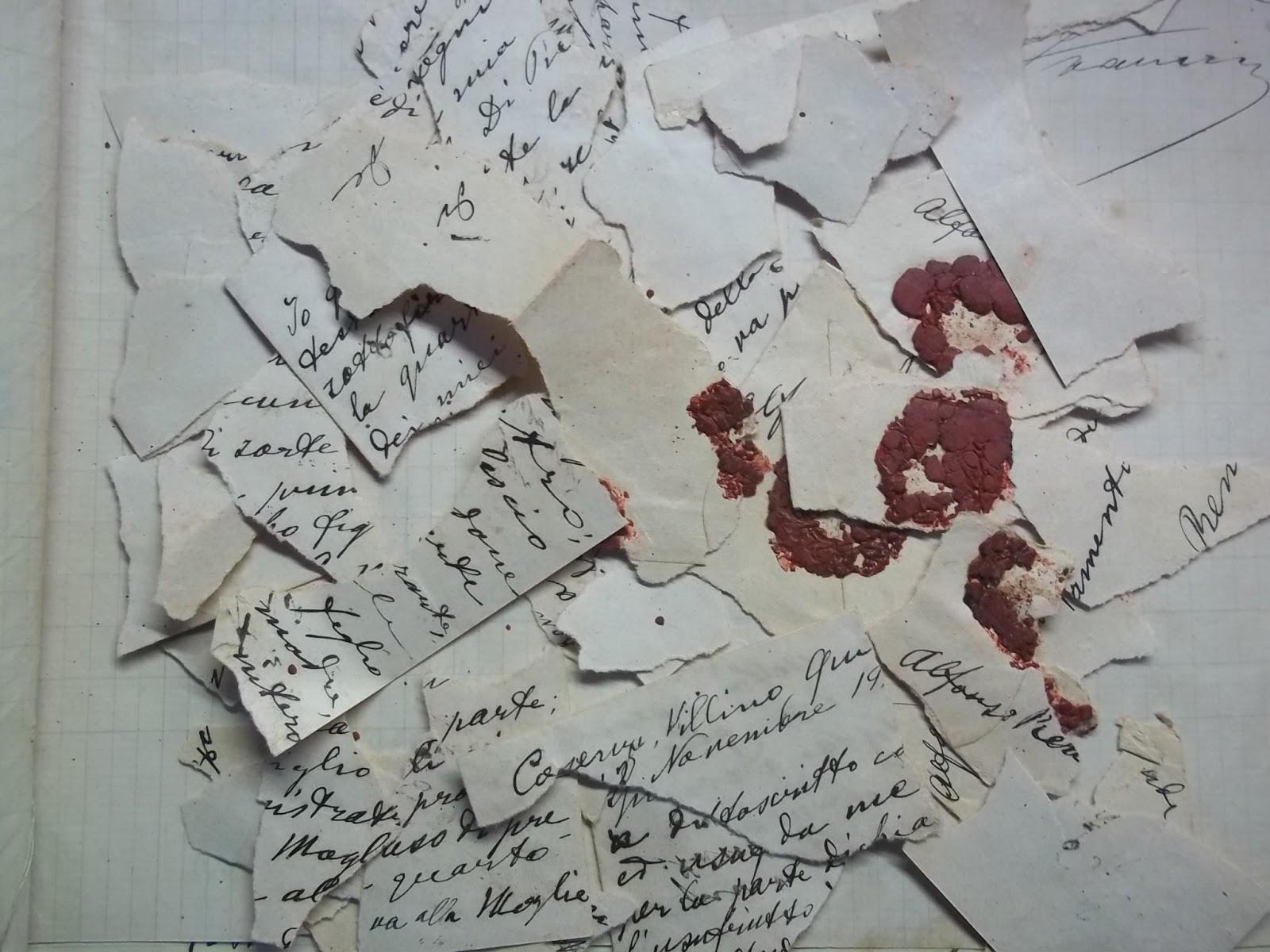 Impossibile dirlo perché i pezzi di carta sono cos¬ malconci che risulta impossibile ricostruire il foglio Il 26 marzo 1918 a tre mesi dalla morte del