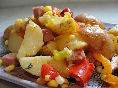 potato, corn and sausage salad
