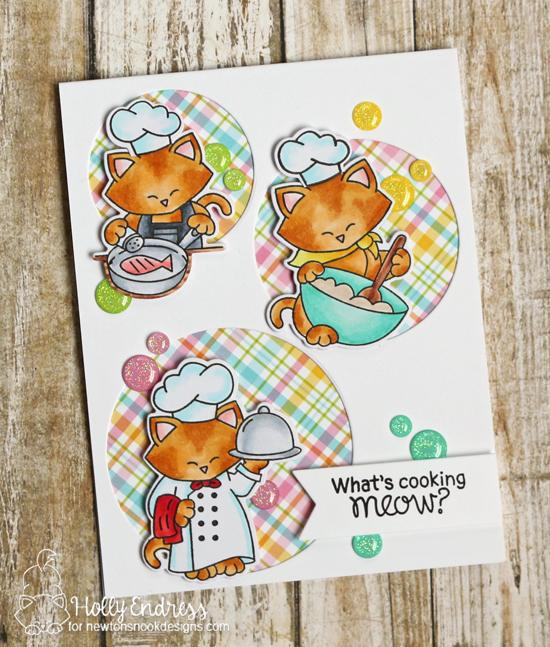 Cats cooking in kitchen card by Holly Endress |  Newton's Kitchen Stamp Set by Newton's Nook Designs #newtonsnook #handmade #kitchenstamps