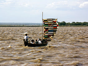 Irrawaddy cruise in the afternoon on turbulent water