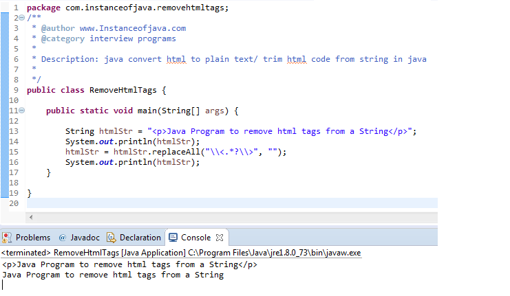 remove html code from string in java