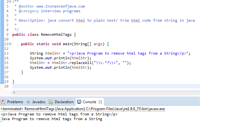 How to remove html tags from string java - InstanceOfJava