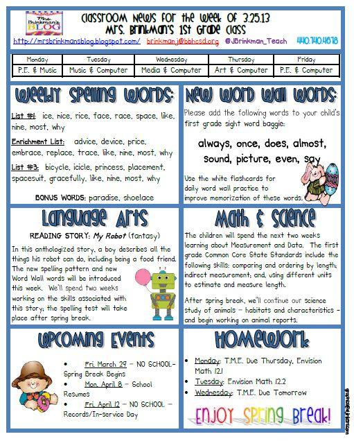 Mrs Brinkman\u0027s Blog March 25, 2013 Classroom Newsletter
