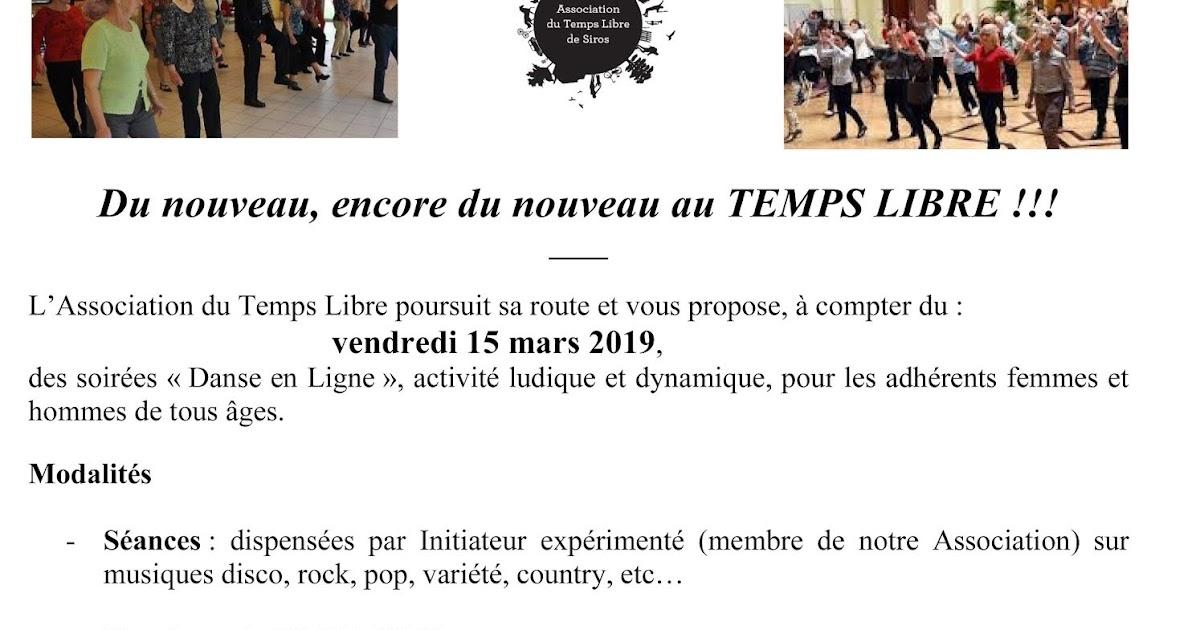 Association Du Temps Libre De Siros Danse En Ligne Le Compte Rebours Peut Commencer