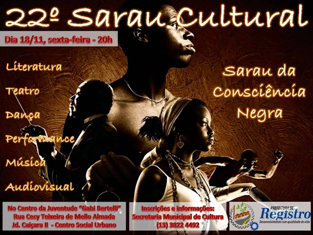 Prefeitura de Registro-SP realizará Sarau Cultural da Consciência Negra