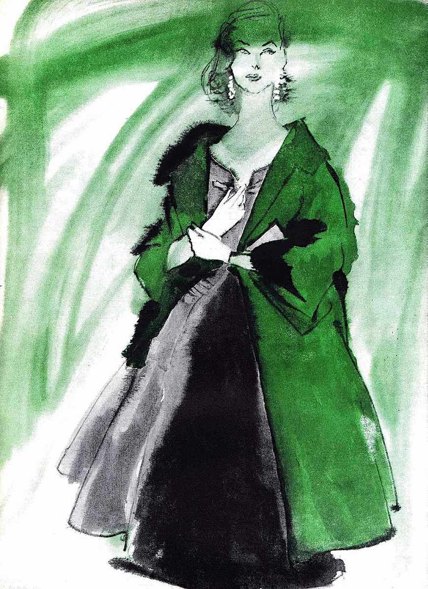 A 1955 fashion illustration of fur in green