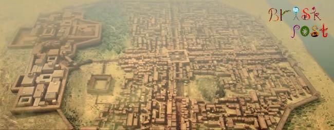 Mohenjo Daro Indus Valley Civilization in satellite view