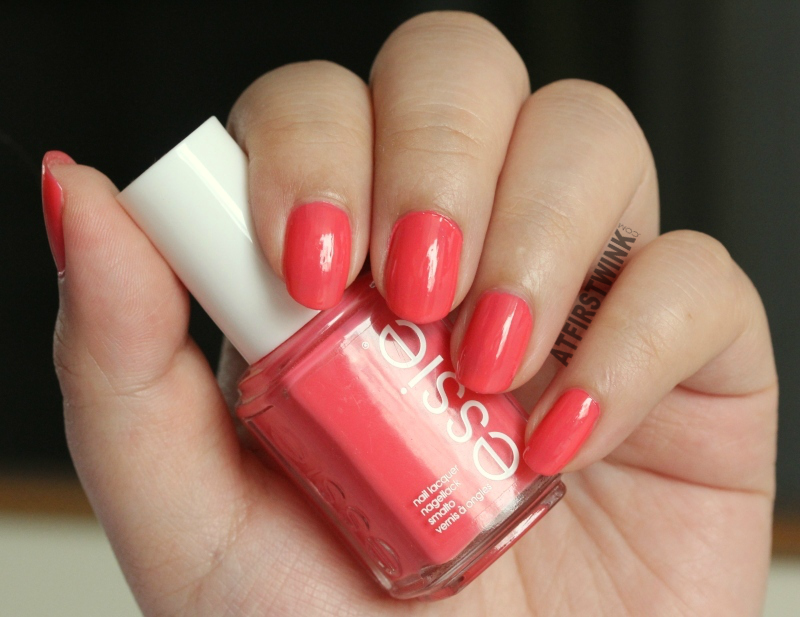 Essie nail polish cute as a button swatches warm coral glossy