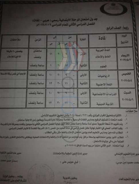جدول امتحانات الصف الرابع الابتدائي 2017 الترم الثاني محافظة بني سويف