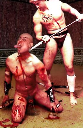 impaled on poles