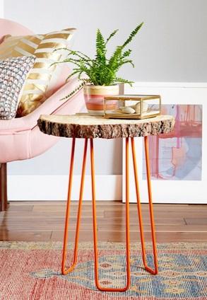 Mesa con madera natural