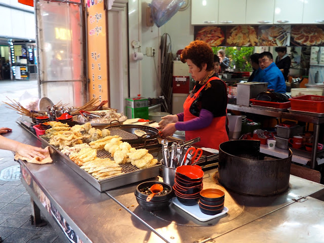 Street food being cooked in Seomyeon, Busan, South Korea