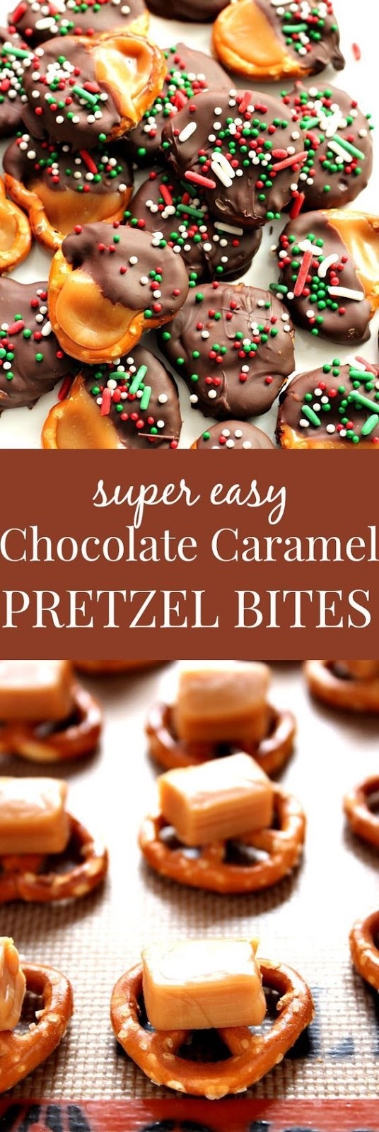 Easy Chocolate Caramel Pretzel Bites Recipe Card