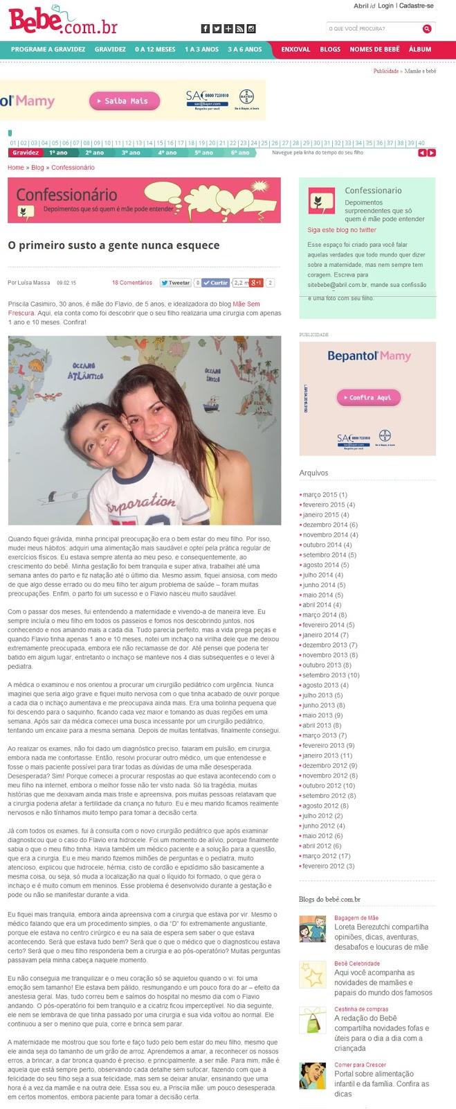 Mãe Sem Frescura - Site Bebê.com.br {Confessionário} - O Primeiro Susto a Gente Nunca Esquece