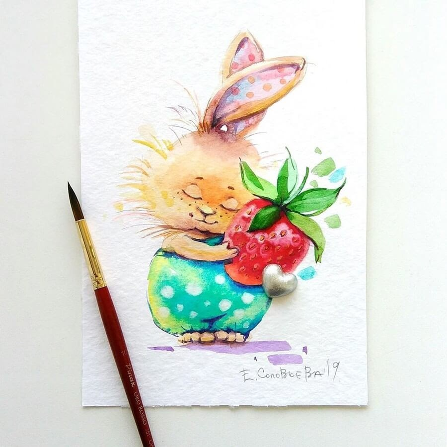 04-Bunny-Evgeniya-Solovyova-Fantasy-Animals-Watercolor-Paintings-www-designstack-co