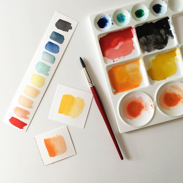 painting, watercolor, paint swatches, paint palette, Anne Butera, My Giant Strawberry