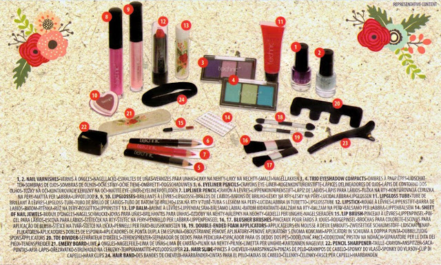 Contents of Technic Make Up Advent Calendar
