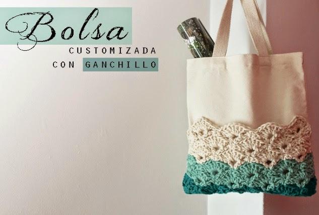 Tunear bolsa de algodon con punto abanico de crochet