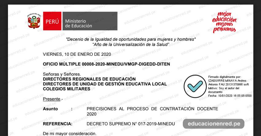 CONTRATACIÓN DOCENTE 2020: Precisiones sobre presentación de Certificado de buena salud física y mental, certificado de antecedentes penales y otros (OFICIO MÚLTIPLE 00008-2020-MINEDU/VMGP-DIGEDD-DITEN)