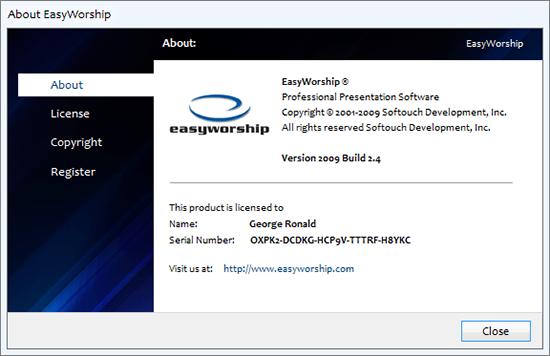 Screenshot Easy Worship 2009 Build 2.4