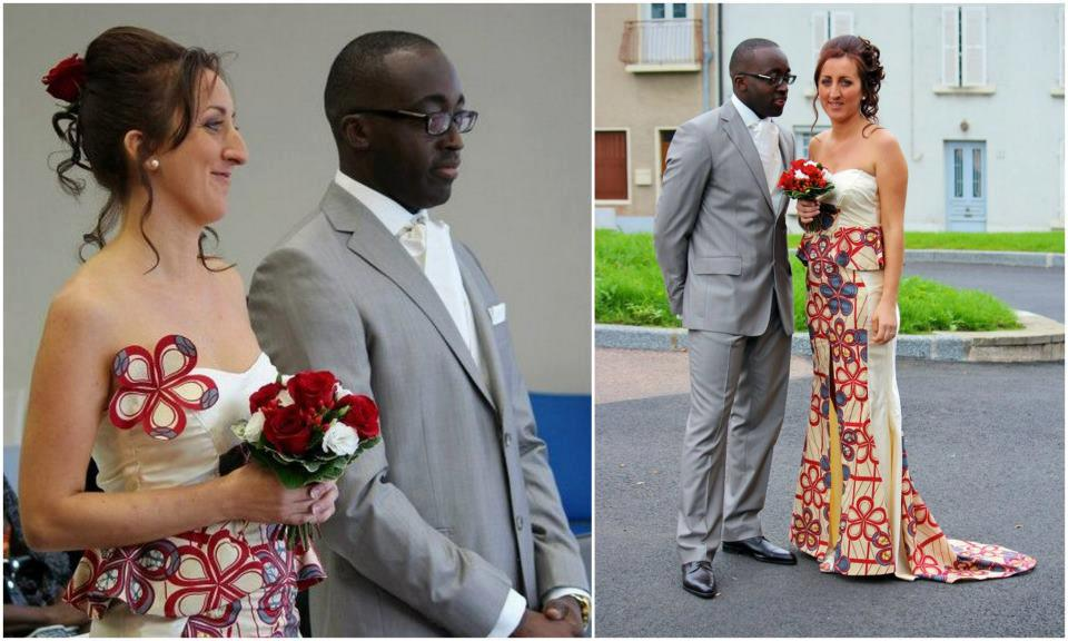 Oyibo Spotted In African Print Wedding Dress Yah Or Nah
