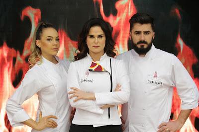 A subchefe Gilda Bley, ao lado da Chef Dahoui e do subchefe Zi Saldanha. Crédito: Gabriel Gabe/SBT