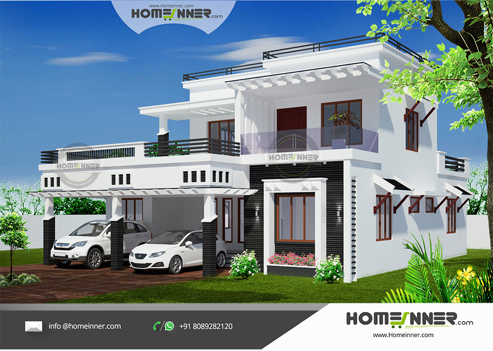 Luxury contemporary style 2600 sqft 3 bedroom indian home for 3 bedroom house plans indian style