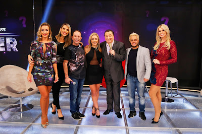 Lola, Ciça, Rafael, a namorada Aline, Raul, Thammy e Val (Crédito: Rodrigo Belentani/SBT)