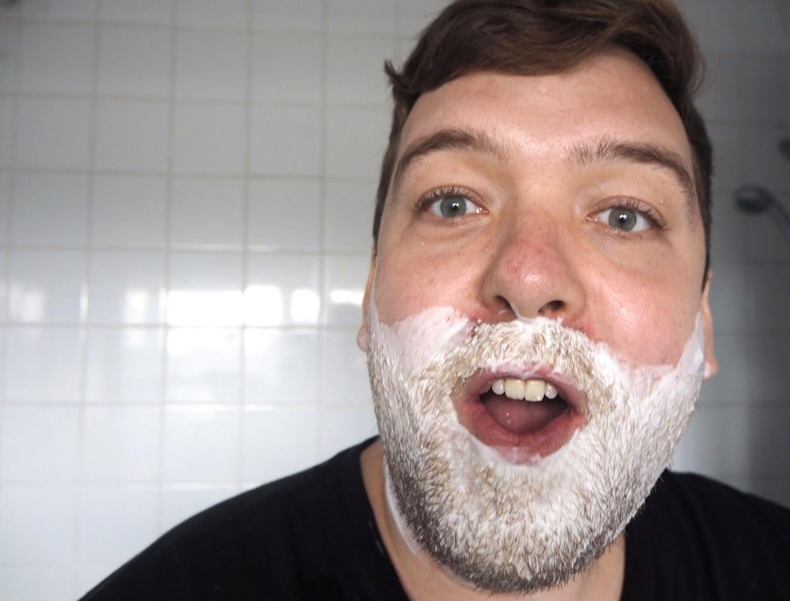 Shaving foam on beard