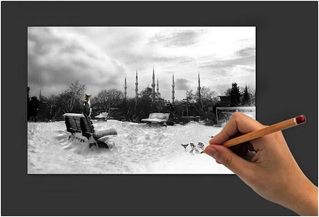 Karakalem Yılbaşı Kartpostallar