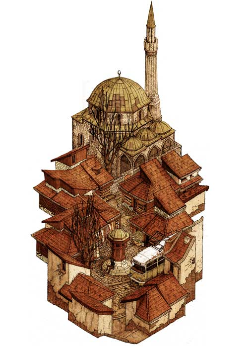 01-Baščaršija-Evan-Wakelin-Architectural-Drawings-in-Isometric-Projection-www-designstack-co