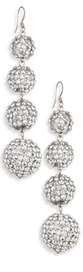 Kenneth Jay Lane Four-Ball Crystal Drop Earrings