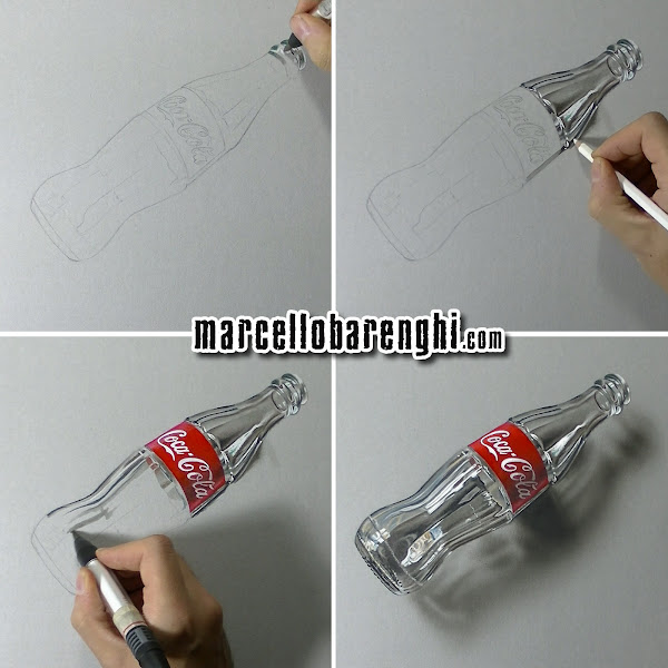 3d art drawing an empty glass bottle of coca cola marcello barenghi