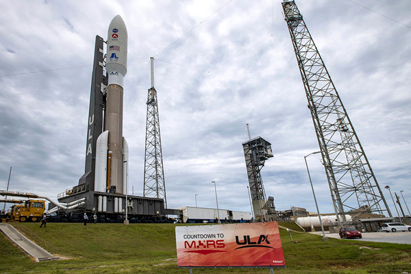 The Atlas V rocket carrying the Mars 2020 spacecraft rolls out to the pad at Cape Canaveral Air Force Station's SLC-41 in Florida...on July 28, 2020.