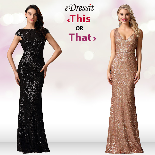 mermaid silhouette sequin black and gold dress