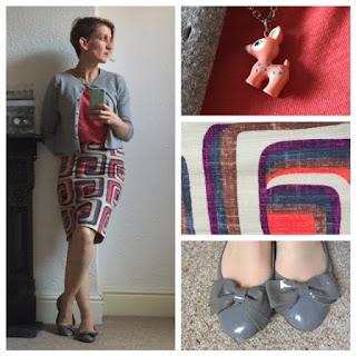 Boden retro print skirt with uni t-shirt