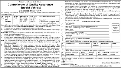 Controllerate of Quality Assurance Recruitment 2016 - 04 MTS (Security) Posts