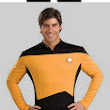 Star Trek costume: red shirt, yellow shirt, blue shirt