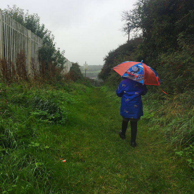 school runs, pembrokeshire, rural life, everyday, nature walk, girl with umbrella, umbrella, rainy walk, thomas the tank,