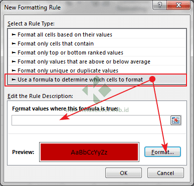 Conditional formatting dengan rumus excel