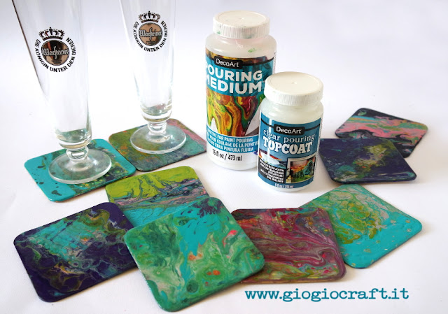 VideoTutorial: A PouringArt set of coaster with DecoArt Pouring Medium