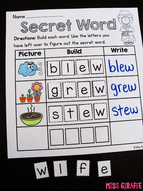 Secret Word phonics worksheets are one of my favorite word work activities to practice reading!