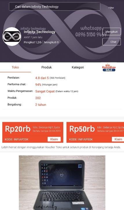 Profile Toko Laptop Infinity Technology di Platform Marketplace Shopee.