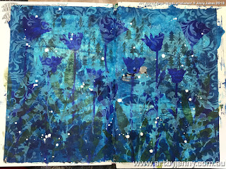 a beautiful blue garden made of paint and stencils by Jenny